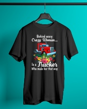 Behind Every Crazy Woman Is A Trucker Classic T-Shirt lifestyle-mens-crewneck-front-3