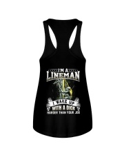 I'm A Lineman I Wake Up With A Dick Ladies Flowy Tank thumbnail