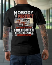 Nobody Is Perfect But Once You're Firefighter Classic T-Shirt lifestyle-mens-crewneck-back-3