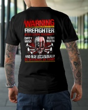 Warning Firefighter With A Strong Personalit Classic T-Shirt lifestyle-mens-crewneck-back-3