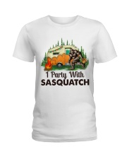 I Party With Sasquatch Ladies T-Shirt thumbnail