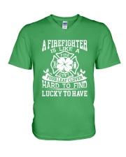 Firefighter Is Like A Four Leaf Clover V-Neck T-Shirt thumbnail