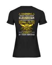 Warning This Electrician Has No Verbal Filter Premium Fit Ladies Tee thumbnail