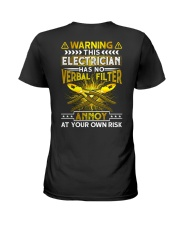 Warning This Electrician Has No Verbal Filter Ladies T-Shirt thumbnail
