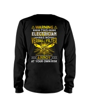 Warning This Electrician Has No Verbal Filter Long Sleeve Tee thumbnail
