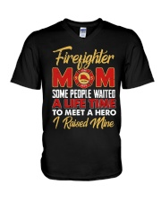 Firefighter Mom I Raised Mine V-Neck T-Shirt thumbnail