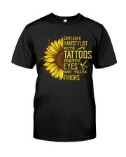 Sunflower Hairstylist With Tattoos Pretty Eyes And Premium Fit Mens Tee thumbnail