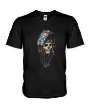 Welder Woman Skull V-Neck T-Shirt thumbnail