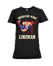 American Made Lineman Premium Fit Ladies Tee thumbnail