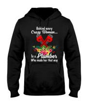 Behind Every Crazy Woman Is A Plumber Hooded Sweatshirt thumbnail