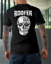 Roofer Because I'm Far Too Sexy To Wear Suit  Classic T-Shirt lifestyle-mens-crewneck-back-3