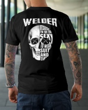 Welder Because I'm Far Too Sexy To Wear Suit  Classic T-Shirt lifestyle-mens-crewneck-back-3