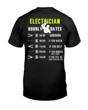 Electrician Hourly Rate Classic T-Shirt back
