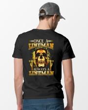 One A Lineman Always A Lineman Classic T-Shirt lifestyle-mens-crewneck-back-6