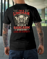 I'm A lineman My Level Of Sarcasm Classic T-Shirt lifestyle-mens-crewneck-back-3