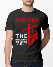 Linemen First Responders Turn You On Classic T-Shirt lifestyle-mens-crewneck-front-13