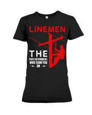 Linemen First Responders Turn You On Premium Fit Ladies Tee thumbnail