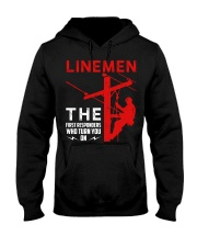 Linemen First Responders Turn You On Hooded Sweatshirt thumbnail