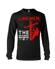 Linemen First Responders Turn You On Long Sleeve Tee thumbnail