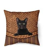 """Black Cat Rattan Indoor Pillow - 16"""" x 16"""" thumbnail"""