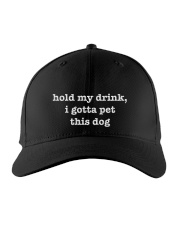 Hold my drink - I gotta pet this dog Embroidered Hat front