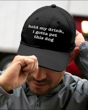 Hold my drink - I gotta pet this dog Embroidered Hat garment-embroidery-hat-lifestyle-01