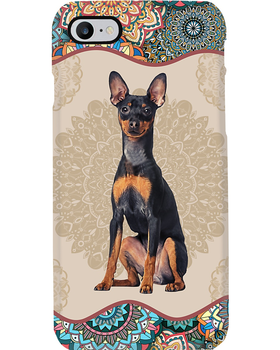 Miniature Pinscher Boho Mandala PC Phone Case