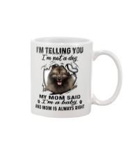 Keeshond Telling Mug front