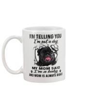 Black Pug Telling Mug back