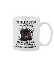 Black Pug Telling Mug front