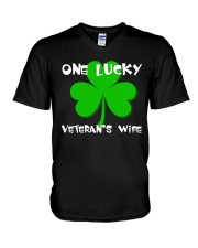 One Lucky Veteran's Wife V-Neck T-Shirt tile