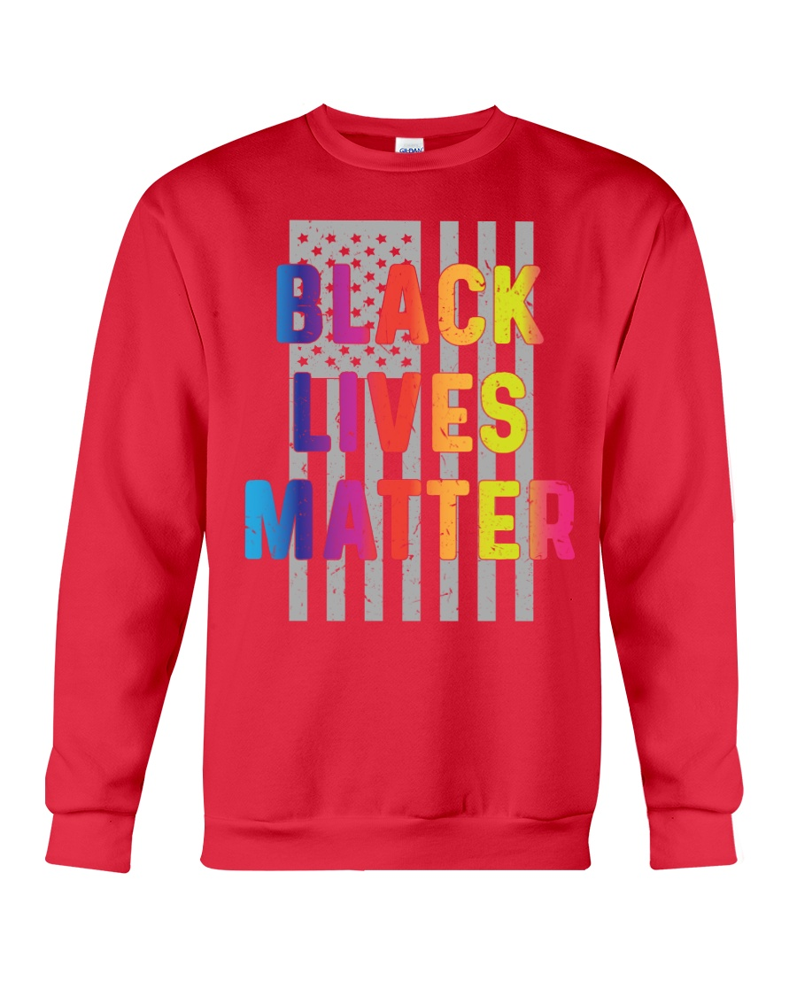 Black Lives Matter American Flag LGBT Pride Month Crewneck Sweatshirt