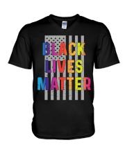 Black Lives Matter American Flag LGBT Pride Month V-Neck T-Shirt thumbnail