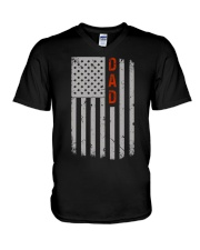 Dad American Flag Pride 4th of July V-Neck T-Shirt thumbnail