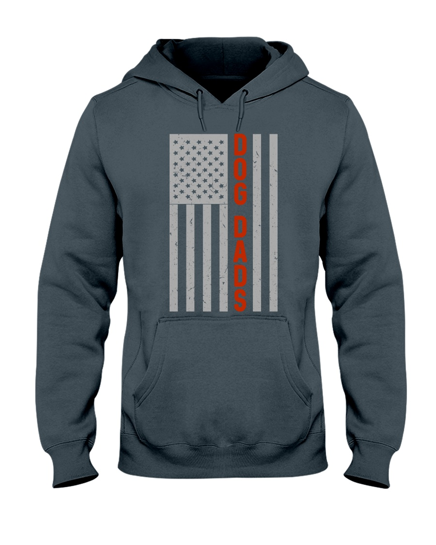 Dog Dads American Flag Pride 4th of July  Hooded Sweatshirt