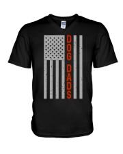 Dog Dads American Flag Pride 4th of July  V-Neck T-Shirt thumbnail