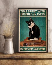 Time spent with books and cats never wasted poster 11x17 Poster lifestyle-poster-3
