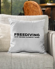 "Freediving is my second favorite F-word Indoor Pillow - 16"" x 16"" aos-decorative-pillow-lifestyle-front-04"