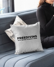 "Freediving is my second favorite F-word Indoor Pillow - 16"" x 16"" aos-decorative-pillow-lifestyle-front-05"