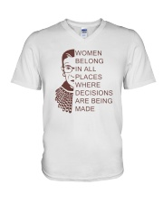 WOMEN BELONG IN ALL PLACES WHERE DECISIONS V-Neck T-Shirt thumbnail