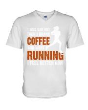 coffee running V-Neck T-Shirt thumbnail