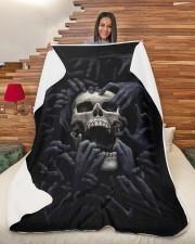 "DARK SKULL  BLANKET Large Sherpa Fleece Blanket - 60"" x 80"" aos-sherpa-fleece-blanket-60x80-lifestyle-front-11"