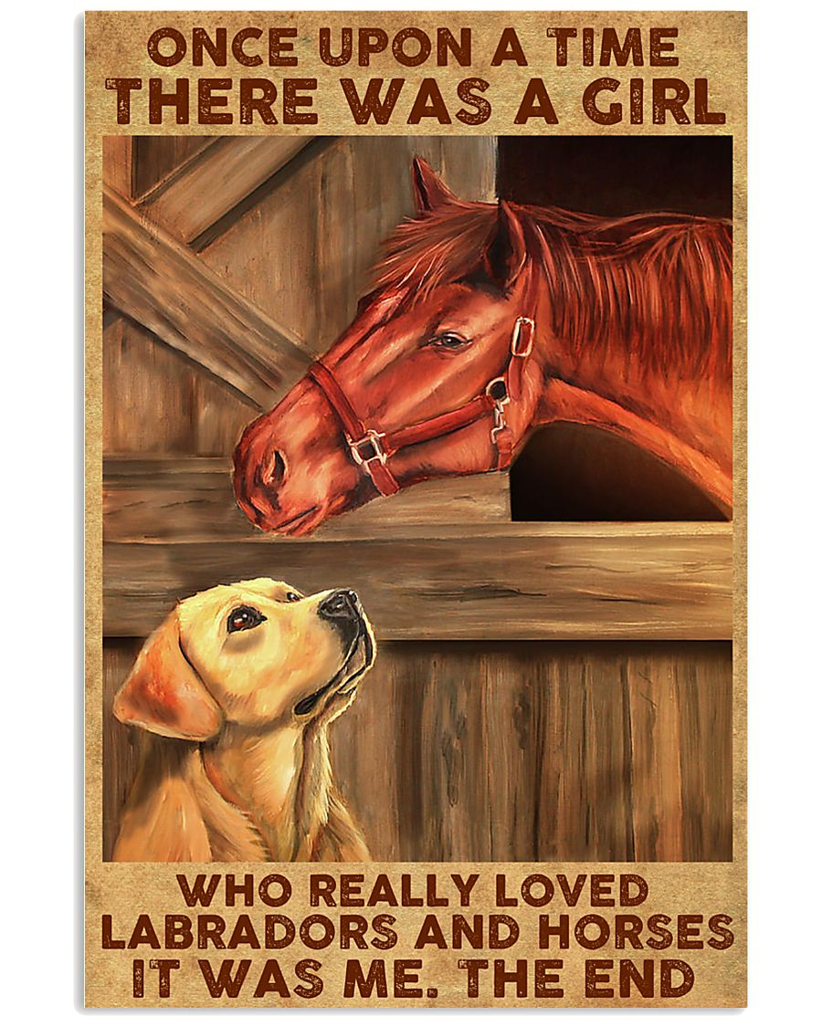 Girl Loved Horses And Labradors 11x17 Poster