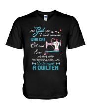 He Made A Quilter V-Neck T-Shirt thumbnail