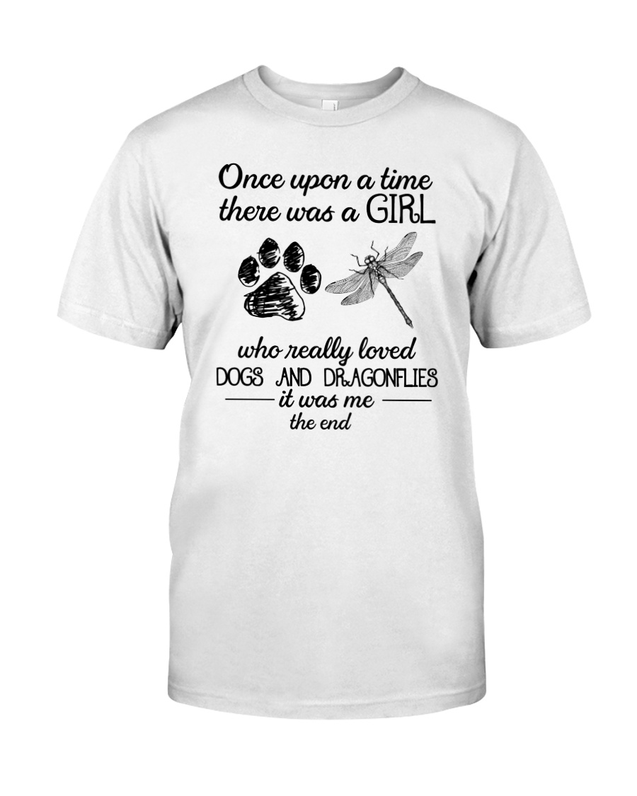A Girl Loves Dragonflies And Dogs Classic T-Shirt