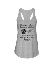 A Girl Loves Dragonflies And Dogs Ladies Flowy Tank thumbnail