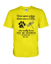 A Girl Loves Dragonflies And Dogs V-Neck T-Shirt thumbnail