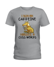 I Run On Caffein And Horses Ladies T-Shirt thumbnail