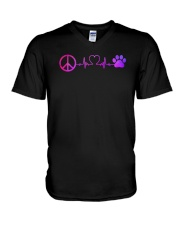 Hippie And Dog V-Neck T-Shirt thumbnail