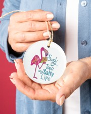 Flamingo Sandy Toes Circle ornament - single (porcelain) aos-circle-ornament-single-porcelain-lifestyles-01